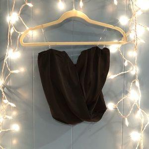 New black drape front tube top